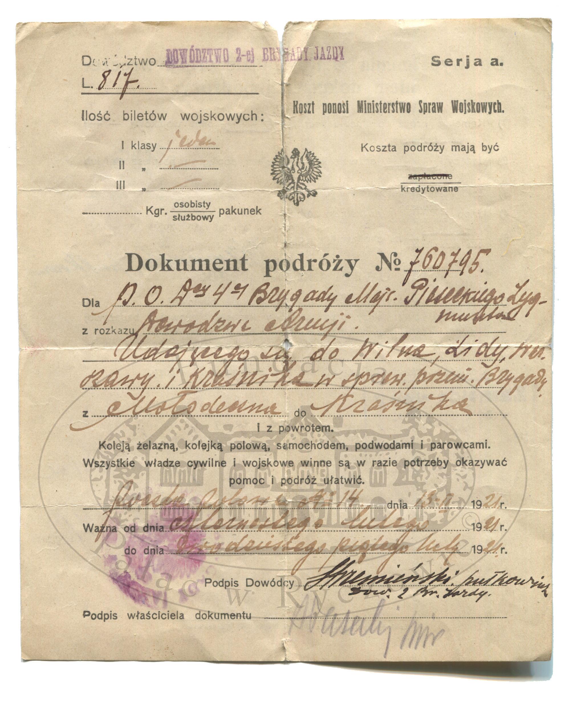 Dokumenty podróży służbowych 1921