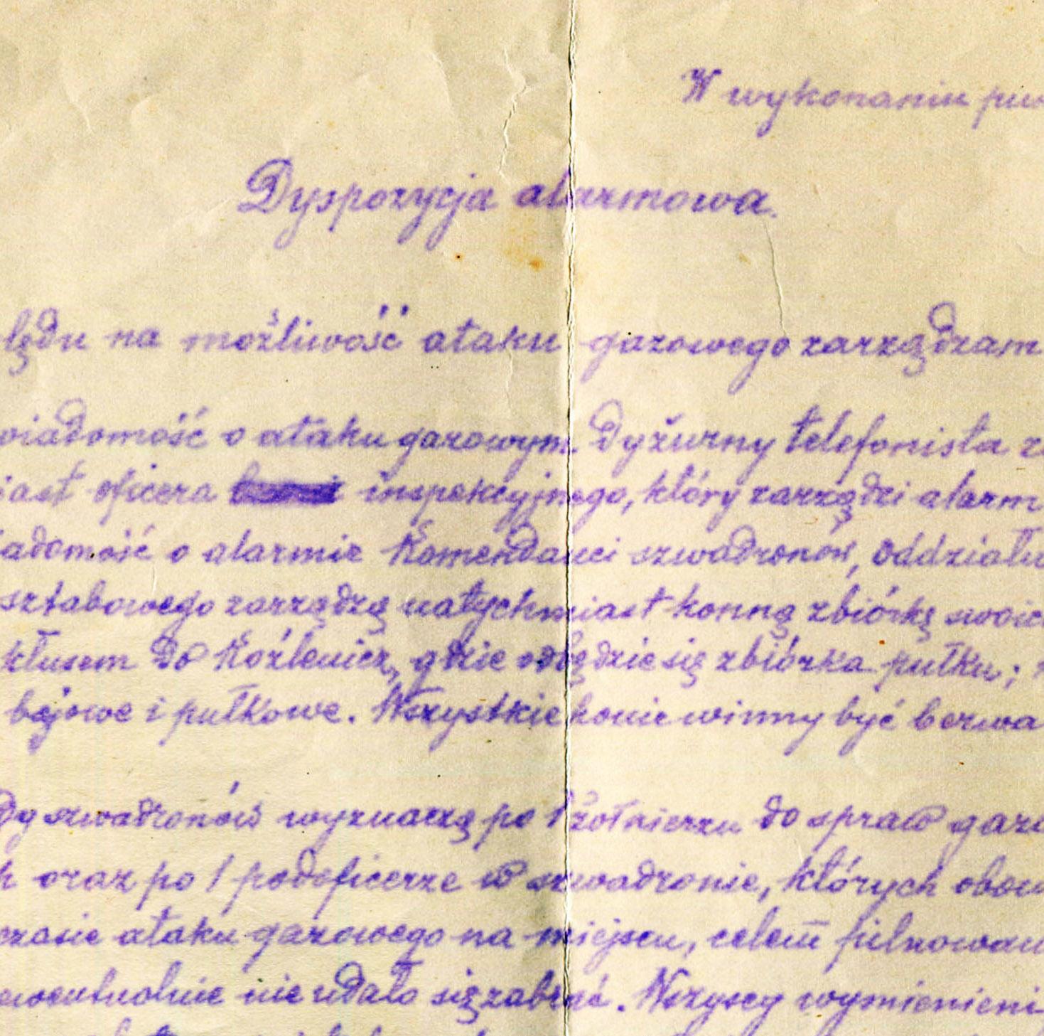 Rtm. Belina-Prażmowski: dyspozycja alarmowa dla 1 P.U.