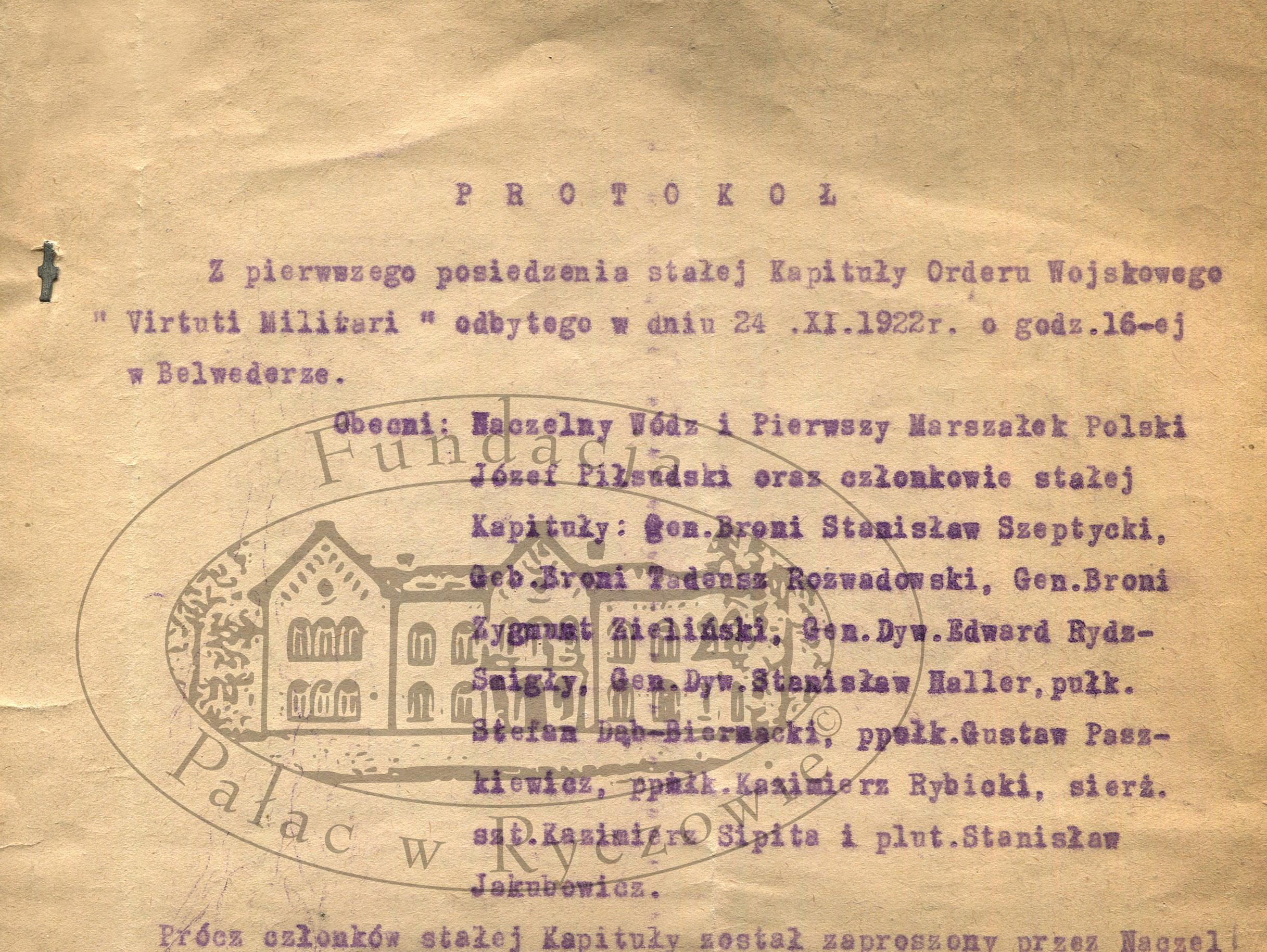 """Protokół zpierwszego posiedzenia Kapituły Orderu """"Virtuti Militari"""""""