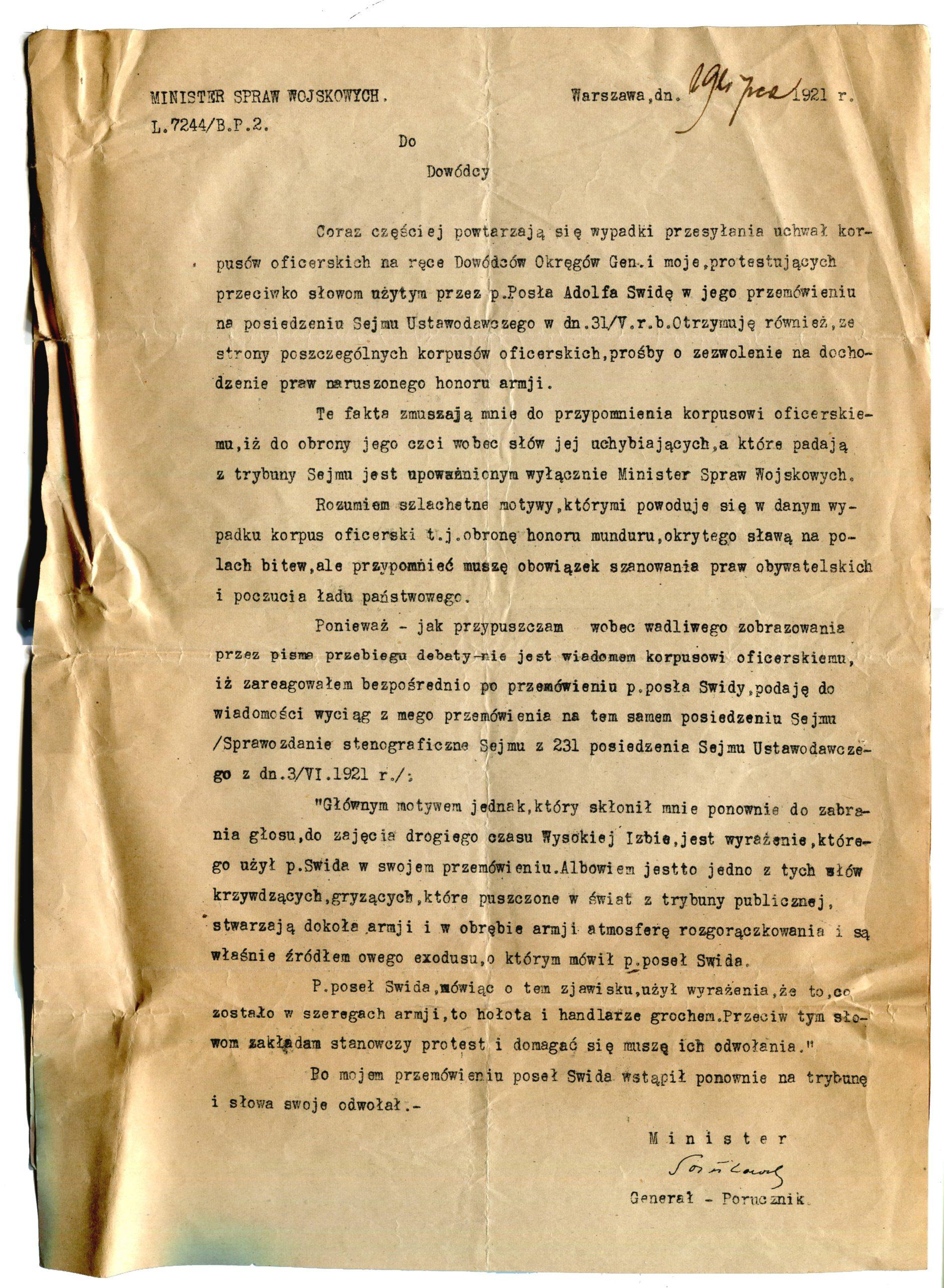 List gen. Kazimierza Sosnkowskiego – 29 lipca 1921